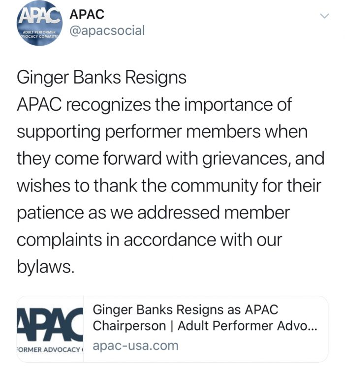 Ginger Banks Forced To Resign From APAC