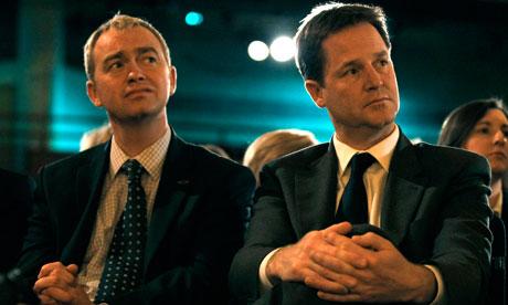 Lib Dem leaers Tim Farron and Nick Clegg