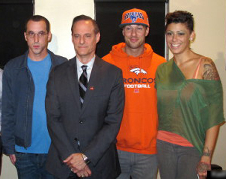 """Patrick """"No Show"""" Stone, AHF dictator Michael Weinstein, Rod Daily and Cameron Bay, in September 2013"""
